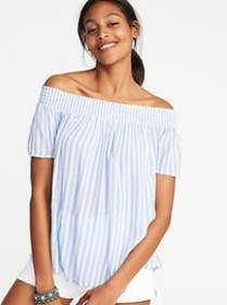 Off-the-Shoulder Striped Swing Top for Women
