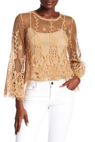 ALLISON NEW YORK Crochet Flare Sleeve Blouse