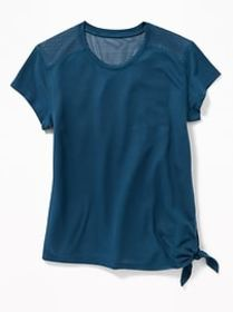 Relaxed Side-Tie Mesh-Back Top for Girls