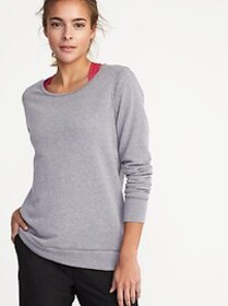 Relaxed French-Terry Keyhole-Back Sweatshirt for W