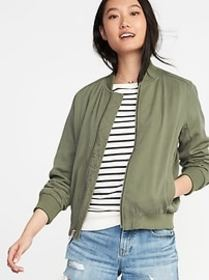Lightweight Twill Bomber Jacket for Women