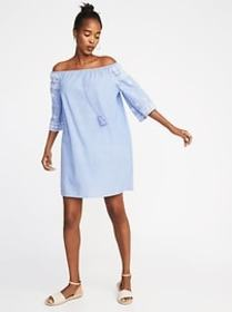 Off-the-Shoulder Embroidered Chambray Shift Dress