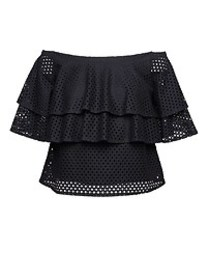 Lace Off-the-Shoulder Ruffle T-Shirt