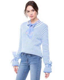 Juicy Couture STRIPED TIE SLEEVE SWEATER