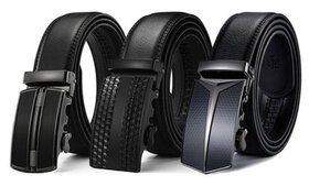 Barbados Men's Solid Buckle Leather Belt with Auto