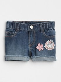 Embroidery Patch Denim Shorts
