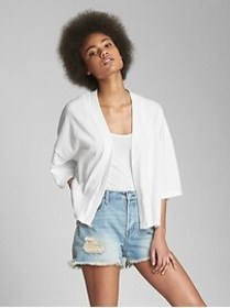 Short Sleeve Crinkle Open-Front Cardigan