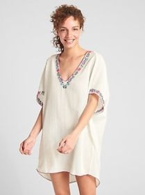 Dreamwell Crinkle Embroidered V-Neck Tunic Cover-U