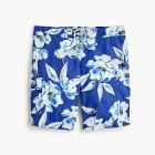 "9"" board short in large blue floral print"