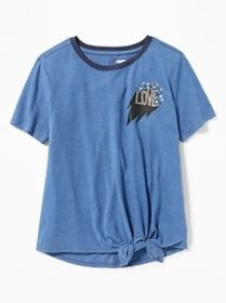 Tie-Hem Jersey Tee for Girls