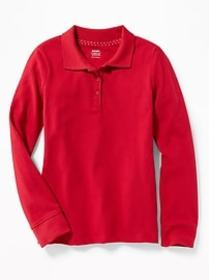 Long-Sleeve Uniform Pique Polo for Girls