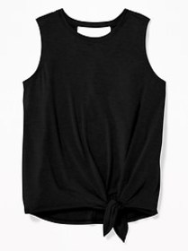 Tie-Hem Cut-Out Back Jersey Top for Girls