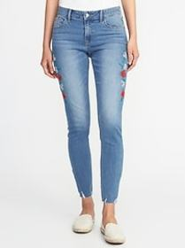Mid-Rise Embroidered Raw-Edge Rockstar Jeans for W