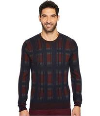 Perry Ellis Winter Cotton Plaid Crew Sweater
