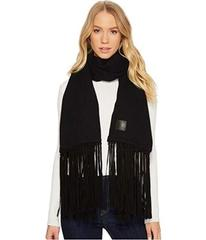 UGG Solid Woven Scarf with Leather Fringe