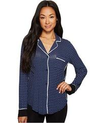 Donna Karan Long Sleeve Notch Collar Top