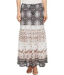 """Tribal Pull-On 36"""" Printed Georgette Maxi Skirt wi"""