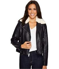 French Connection Faux Leather Moto Jacket with Sh