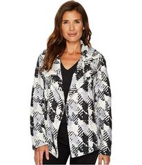 TWO by Vince Camuto Broken Houndstooth Faux Fur Co