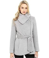 Jessica Simpson Brushed Wool Touch Coat w/ Asymmet
