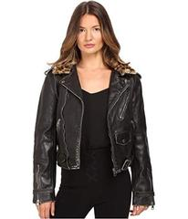 Just Cavalli Leather Moto Zip with Cat Accent Runw