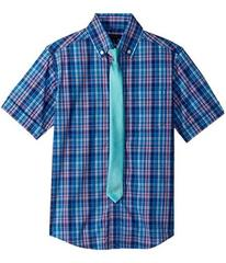 Tommy Hilfiger Short Sleeve Plaid Shirt w/ Tie (Bi