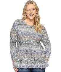 Lucky Brand Plus Size Ombre Lace-Up Pullover