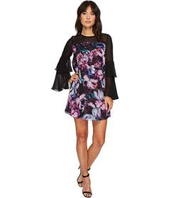 CeCe Camille Tiered Sleeve Floral Dress