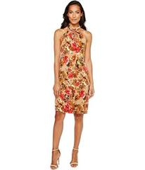Taylor Floral Knot Neck Midi with Triple Keyhole