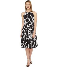 Vince Camuto Cut Out Floral Pleated Belted Halter