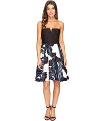 Halston Heritage Strapless Notch Neck Printed Dres