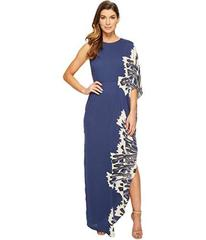 Halston Heritage One Sleeve Boat Neck Printed Gown