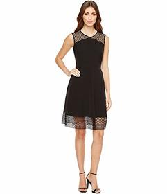 Tahari by ASL Embroidery Trim Fit-and-Flare Dress