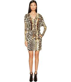 Just Cavalli Long Sleeve V-Neck Mixed Animal Print