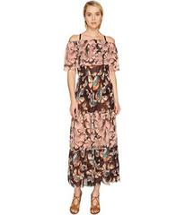 FUZZI Off the Shoulder Butterfly Patchwork Dress C