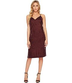 Splendid Velvet Slip Dress w\u002F Tuxedo Trim Sid