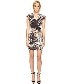 Just Cavalli Palm Print Fitted Short Sleeve Dress