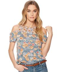Lucky Brand Floral Print Tie Cold Shoulder Top