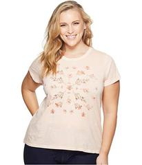 Lucky Brand Plus Size Stamp Flowers Tee