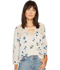 Lucky Brand Floral Lace Mix Peasant Top