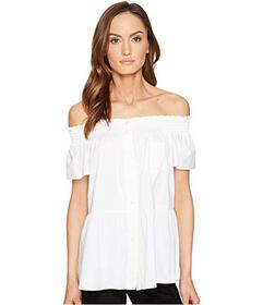 RED VALENTINO Cotton Stretch Poplin Top