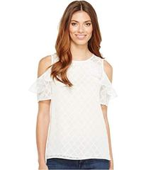 CeCe Short Sleeve Ruffled Cold Shoulder Diamond Cl