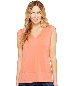 Calvin Klein Short Sleeve V-Neck with Crepe De Chi