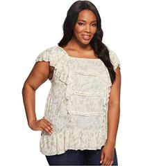 Lucky Brand Plus Size Woven Mix Ruffle Tank Top