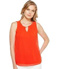 Calvin Klein Sleeveless Pleat Top with Chain