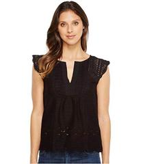Lucky Brand Embroidered Flutter Top