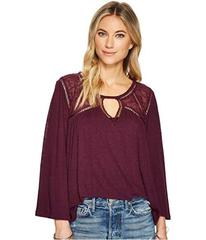 Lucky Brand Lace Mix Peasant Top