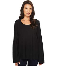 Vince Camuto Bell Sleeve Cotton Modal Slub Top