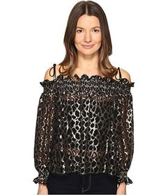 Just Cavalli Off the Shoulder Printed Long Sleeve