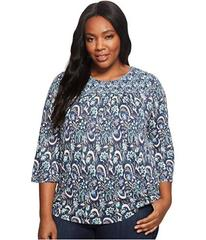 Lucky Brand Plus Size Mixed Print Smocked Top